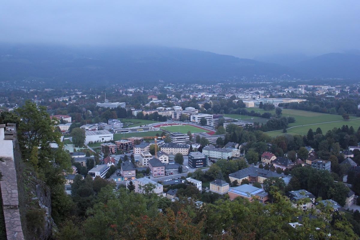 Вид на Зальцбург с юго-восточной стены крепости